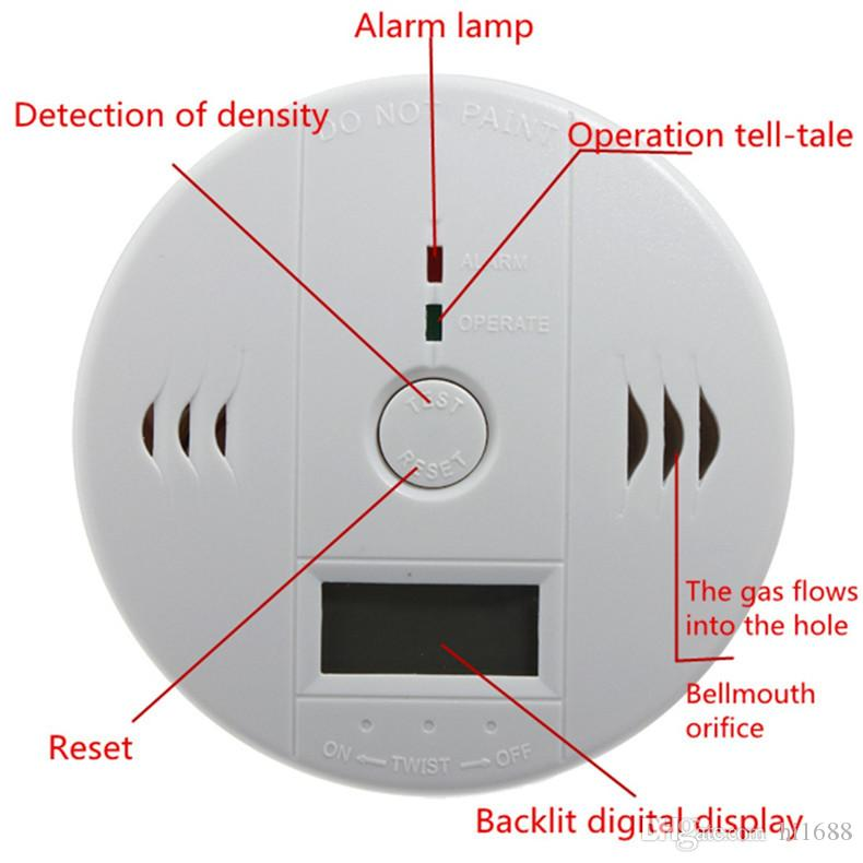 CO Karbon Monoksit Tester Alarm Uyarı Sensörü Dedektörü Gaz Yangın Zehirleme Dedektörleri LCD Ekran Güvenlik Gözetim Ev Güvenlik Alarmları