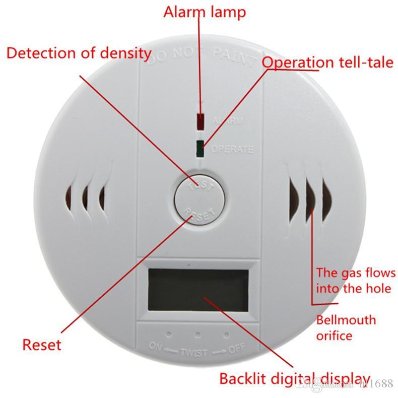 CO Testeur de monoxyde de carbone Alarme Avertissement Détecteur Détecteur Gaz Détecteurs d'empoisonnement Feu Écran LCD Surveillance De Sécurité Accueil Alarmes De Sécurité