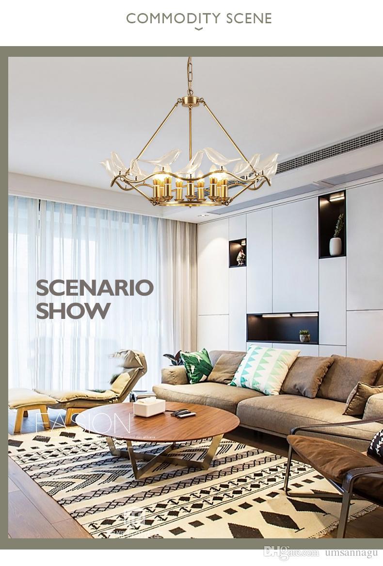 ... Moderne Kupfer Pendelleuchten Fixture LED Licht American Glas Vogel  Pendelleuchten Wohnzimmer Bett Wohnzimmer Esszimmer Home ...