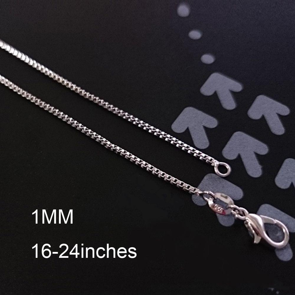 Mode Box Kette 18 Karat Gold Überzogene Ketten Reines 925 Silber Halskette lange Ketten Schmuck für Kinder Jungen Mädchen Damen Herren 1mm 2016