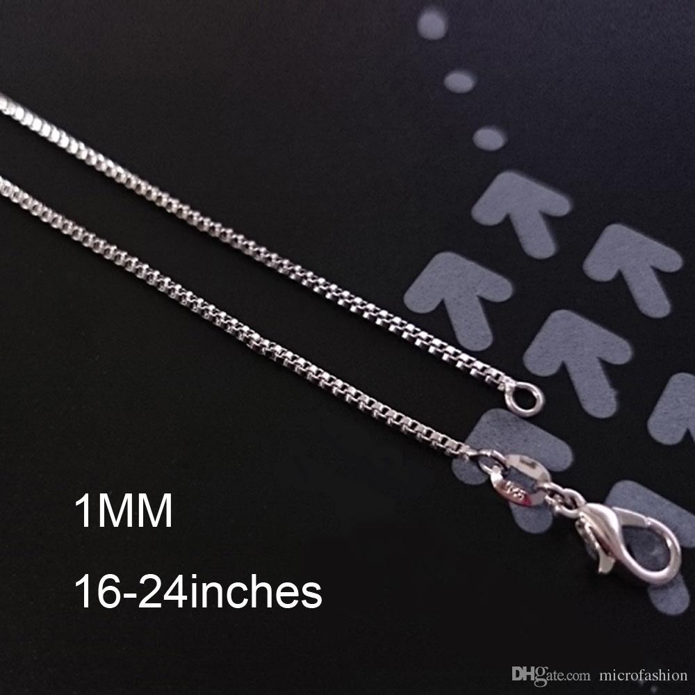 Nouveau 925 Sterling Argent Plaqué Mince Chaîne Boîte Chaîne 1mm Collier pour Pendentif Charmes Bijoux Pour Filles Femmes Pure Estampillé Italie