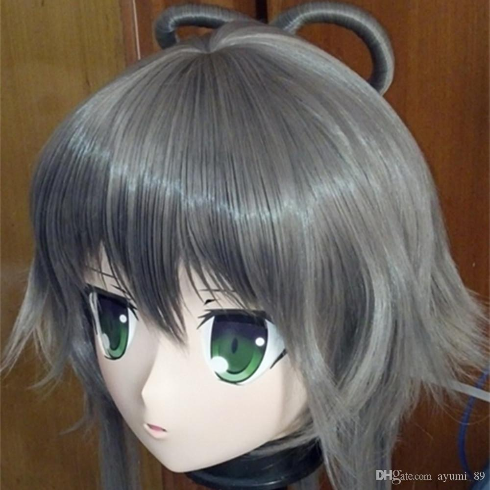 C2-025 Anime KIG Mask Cosplay Kigurumi Breast Zentai Skin Fetish Suit Crossdresser in Party Masks Anime Kigurumi Masks with Wig