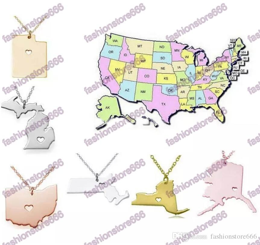Wholesale Dhl Free America 50 State Map Pendant Necklaces With Heart