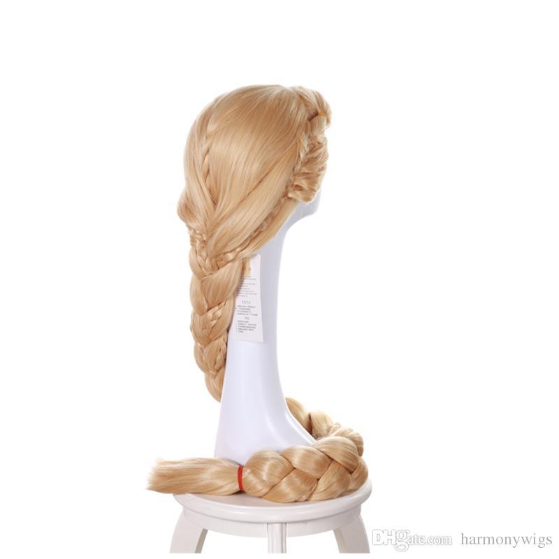 Princesa Rapunzel Peruca Longa Loira 3X Trança Rabo de Cavalo Traje Do Partido Cosplay Peruca 140 CM perucas de cabelo sintético