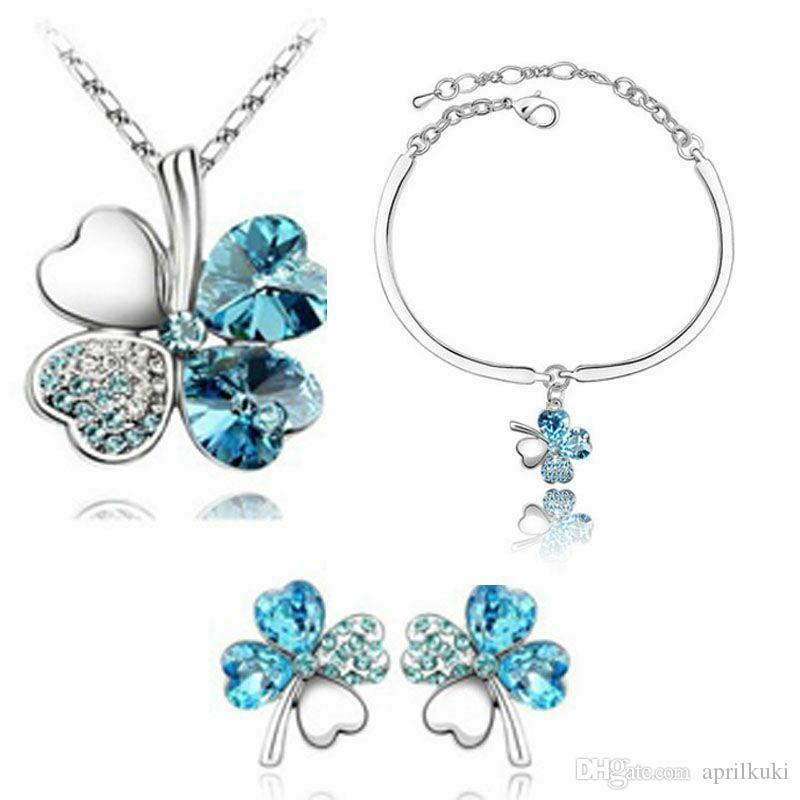 Gifts Austrian Crystal Clover 4 Four Leaf 18K White Gold Plated Green Crystsal Necklace Earrings Bracelet Jewelry Sets