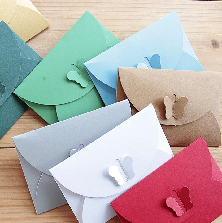 Wholesale 105x7cm Small Paper Envelope Wedding Invitation Card Party Beautiful Color Butterfly Clasp Envelopes Birthday Cards Greetings
