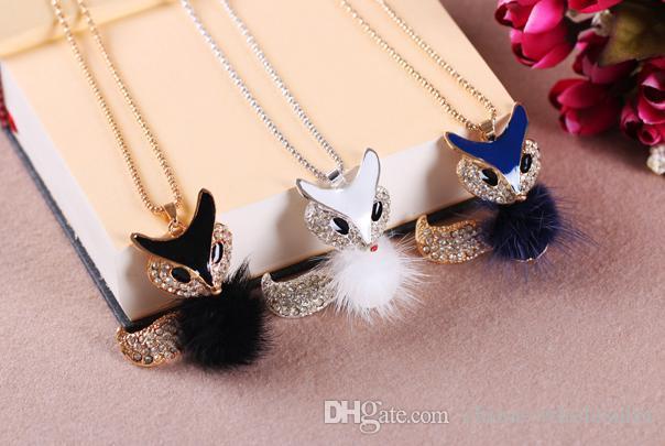 Stylish plush fox Pendant necklace Simulated diamond long sweater chain Women Jewelry New factory price Mix color