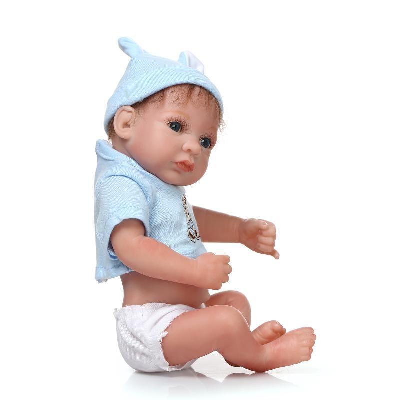 Mini Full Silicone Vinyl Reborn Baby Doll Lifelike Mohair Dolls Baby Alive Fake Colletible gift Present
