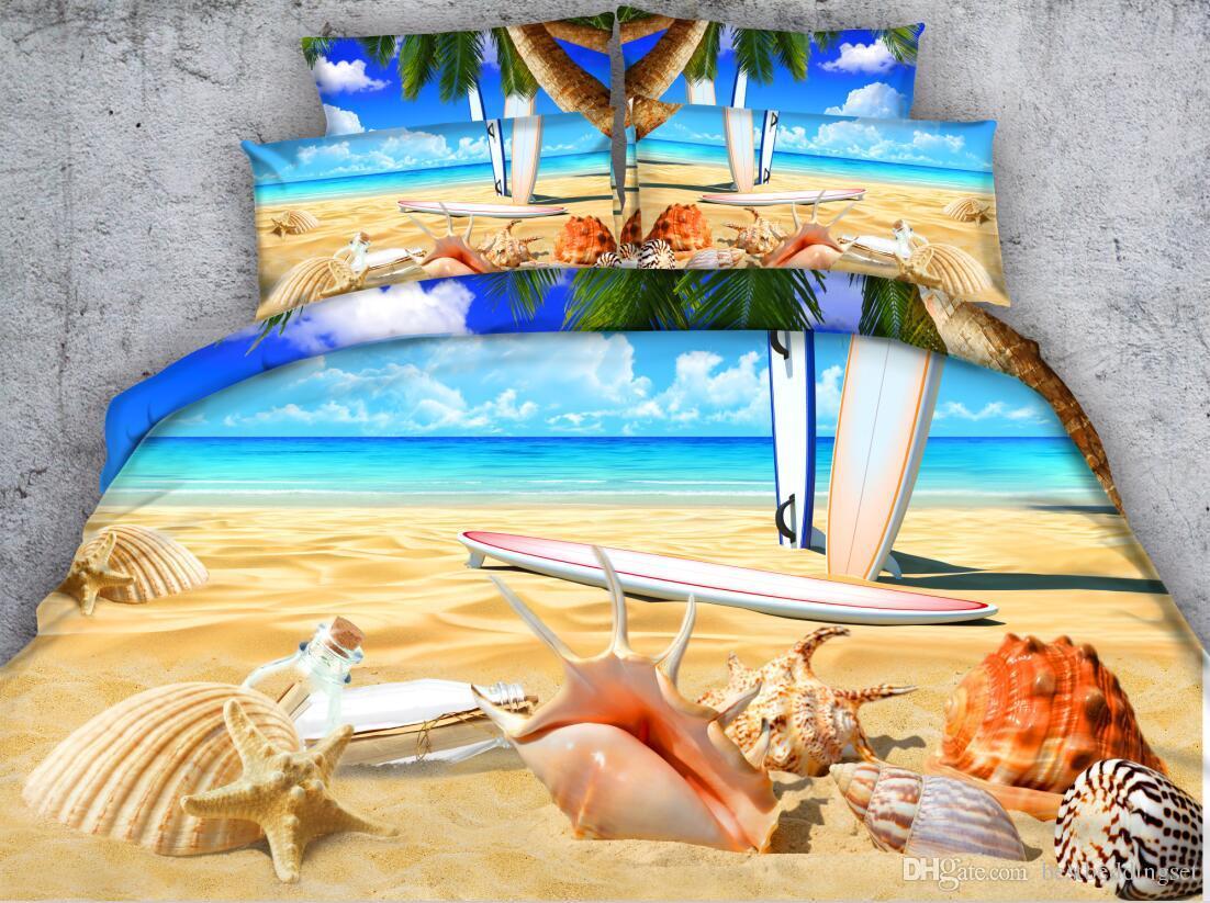 Acheter Ensembles De Literie 3d La Planche De Surf De Plage Coton