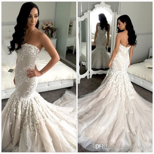 5dc9e1cfe5f2 2016 New Designer Bridal Mermaid Full Wedding Dresses Appliques Chapel  Train Sweetheart Fashion Tulle Lace Low Back White Ivory Bridal Gowns Pink  Wedding ...