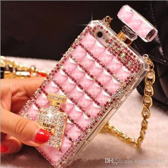 best service 344fb 6a54f Bling Diamond Perfume Bottle Cases For Iphone 7 Plus Iphone7 6 6S 5 5S  Handmade Fashion Luxury Rhinestone Crystal TPU Covers With Chain