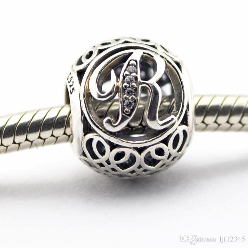 278fc25a23b6 Vintage Letter R Clear CZ Beads adapta Pandora Bracelets Beads Auténtico  925 Sterling-Silver Beads DIY encanto encantos al por mayor LE015- R