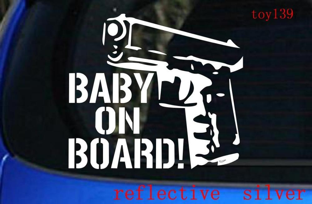 CUTE FUNNY FAMILY VINYL CAR TRUCK WINDOW STICKER DECAL MOM BABY ON BOARD GUN