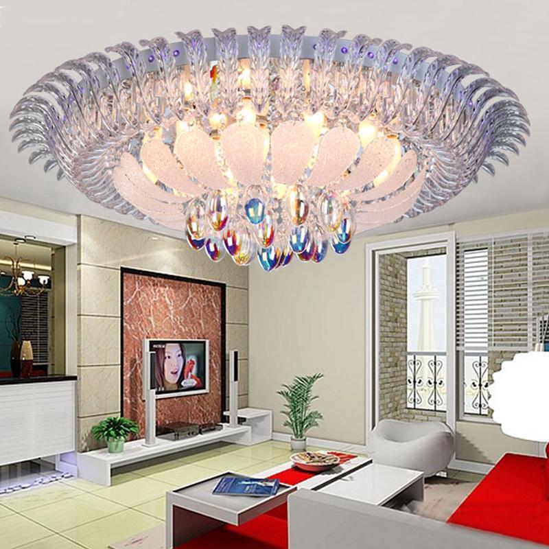 Acheter Ronde Led Plafonniers Chambre Paon Plafond Lampe Salon