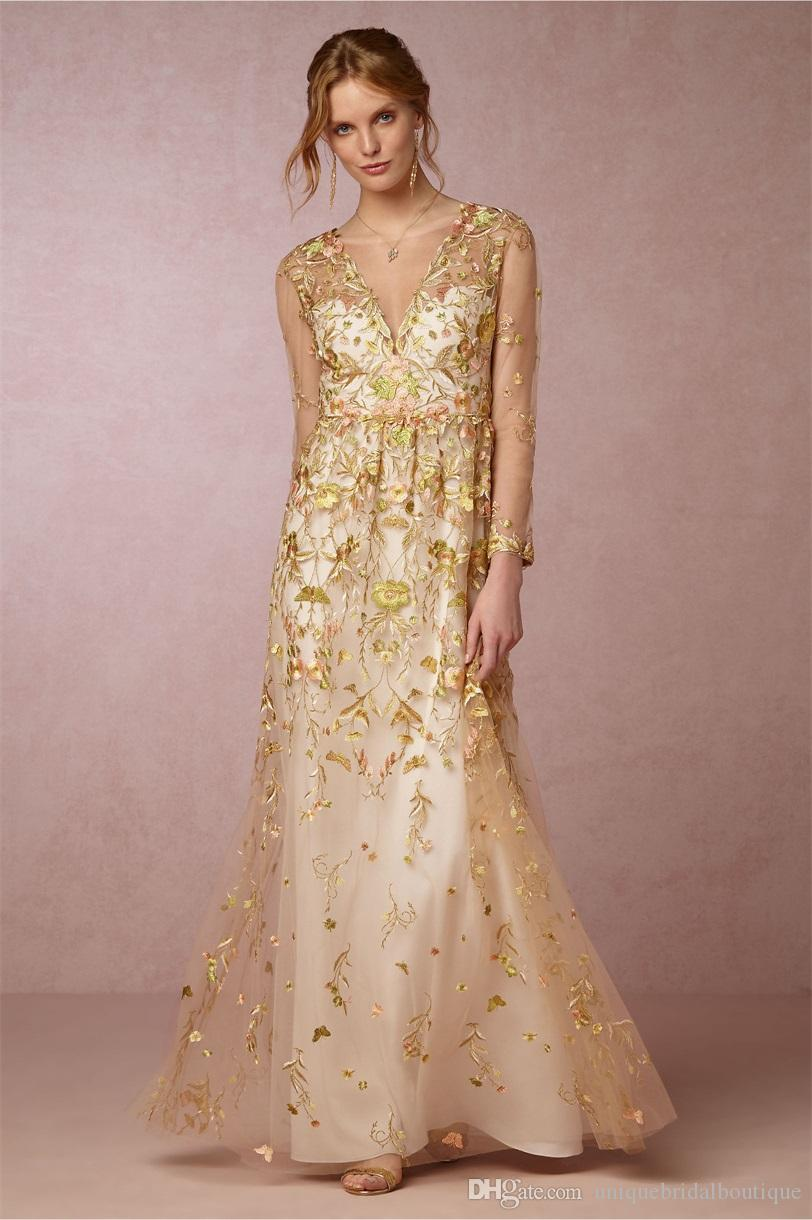 Discount 2017 gold wedding dresses bhldn with illusion long discount 2017 gold wedding dresses bhldn with illusion long sleeves and v neck appliques tulle cinderella inspired fairy bridal gowns 3d floral dresses ombrellifo Image collections