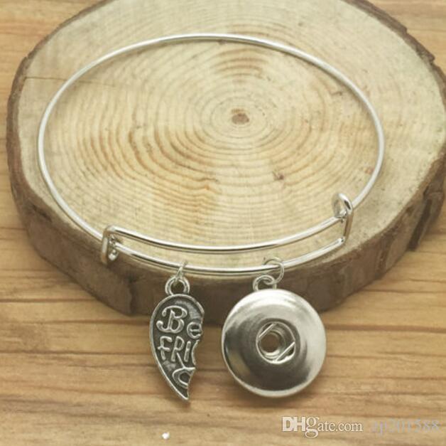 Vintage Silver Snaps кнопки Lovers Подвески расширяемый Браслет браслеты для электромонтажных браслеты 12шт женщин подарка ювелирных изделий Аксессуары DIY Z27
