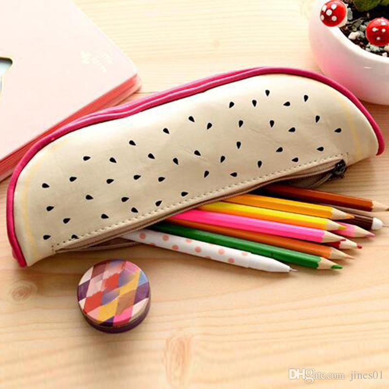 Lovely Fruit Shape Cosmetic Bag Watermelon Orange Pen Bags Stationery Bags Storage Pencil Case Casual Travel Makeup Bag Material Escolar