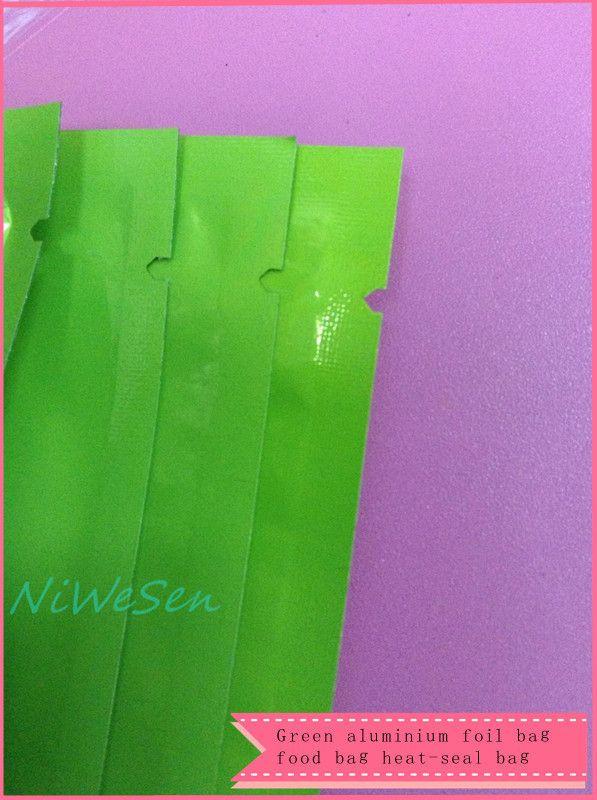 X 10x15cm green aluminized mylar ping pocket-aluminum foil flat dry food packaging bag, heat open sealed pouch