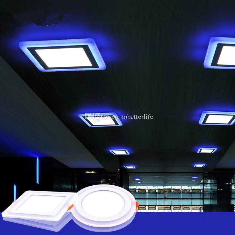 더블 컬러 슬림 LED 패널 조명 블루 + 차가운 / 따뜻한 화이트 LED 오목한 천장 램프 라운드 스퀘어 아크릴 85-265V 실내 장식 9W 16W 24W