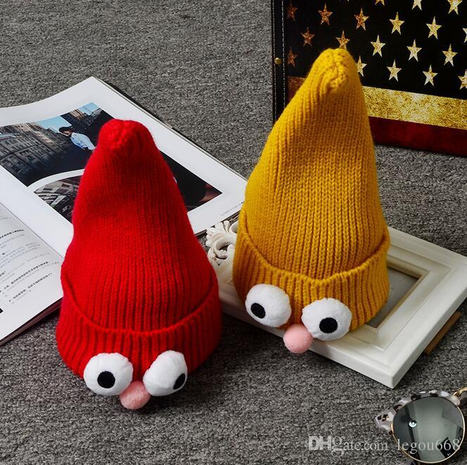 Children 's warm candy - colored knitting cap pointed knit hat women' s autumn and winter hats HJIA989