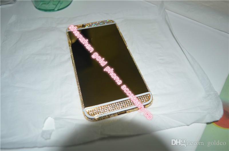 Habitação de cristal de habitação de volta bateria de chapeamento de ouro 24k para iphone6 plus 1 branco 2 preto, 6s linha preta total