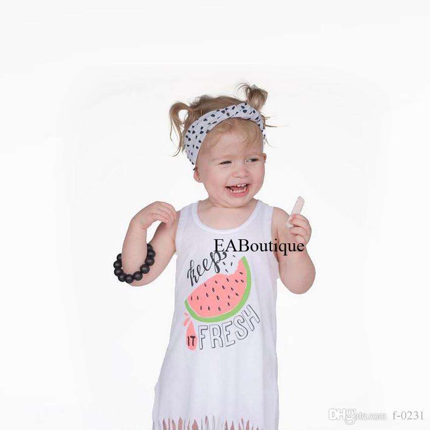 New Fresh style fashion cartoon letter watermelon Smooth milk silk Cotton tassels summer dress for baby girls 1-5 years old