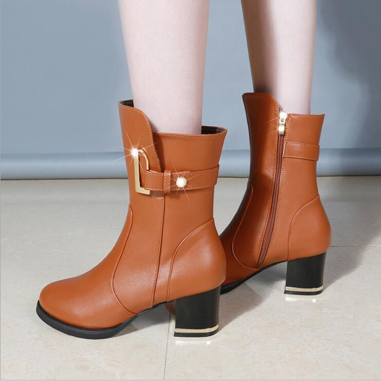 2017 Fashion Ankle Boots for Women Fashion Chunky Heels Short Bootie Autumn Winter Woman Shoes Black Brown