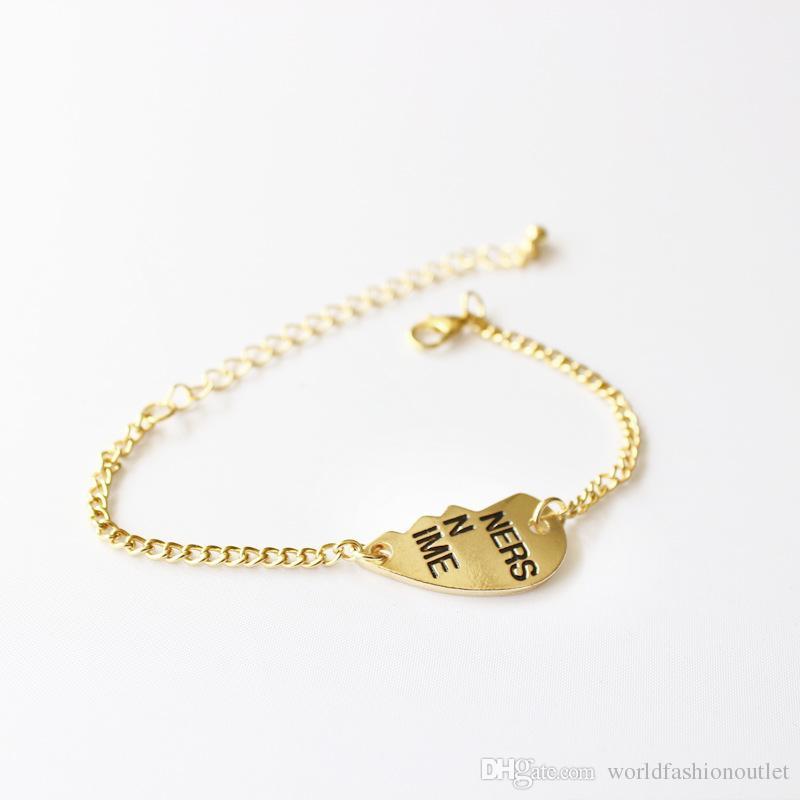 Half Heart Partners In Crime Письмо Браслеты Ножные браслеты Ювелирные изделия Браслет Браслеты Линк Цепь Аксессуары для ювелирных изделий Лучший подарок для друзей