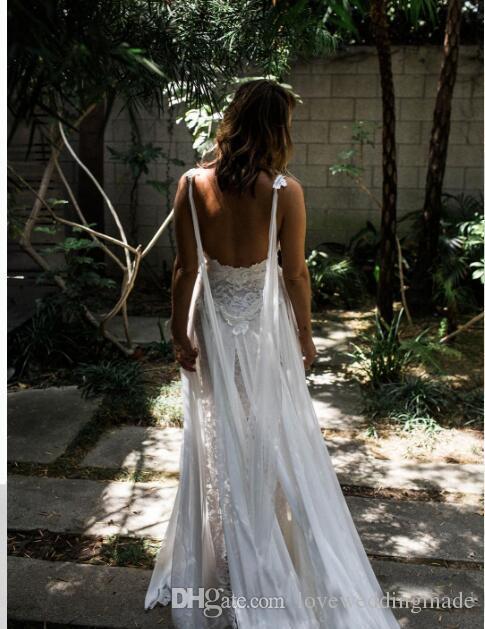 Chiffon Lace A Line Beach Wedding Dresses 2017 Designer Thigh-High Slits Flowing Fairy Summer Gowns Spaghetti Straps