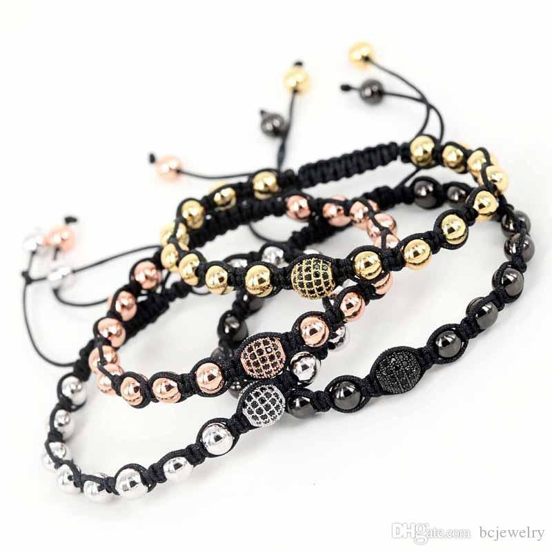 BC New Atolyewolf Macrame Bracelets, 18K oro rosa Micro Pave negro CZ Beads Briading Macrame pulsera para hombre joyería BC-246