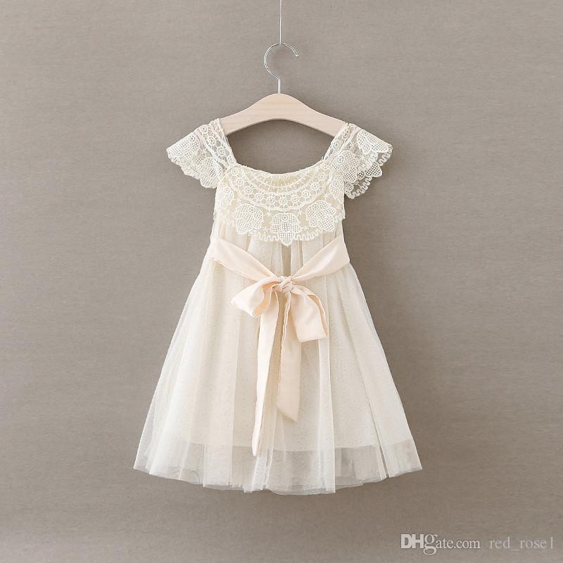 2017 Bebek Kız Çocuk Parti Elbise Noel Yeni Bebek Kız Peri Dantel Nokta Yaz Elbiseler Prenses Çocuk Moda Parti Giysileri 5 adet / grup