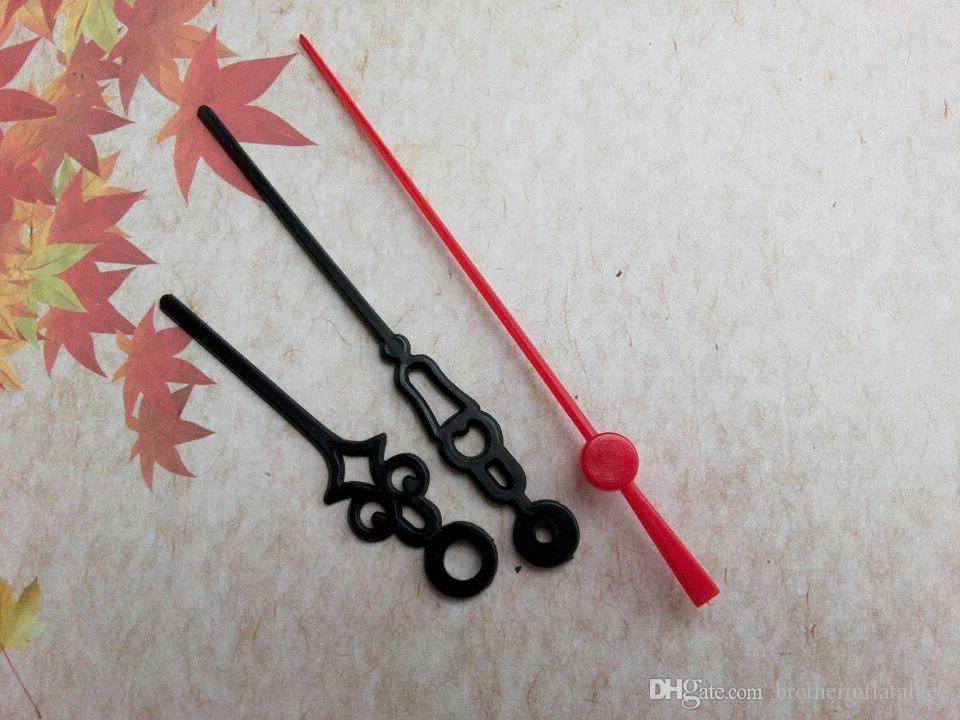 Groothandel 50 stks plastic zwart met rode tweede handen voor klok mechaïsme DIY Reparatie