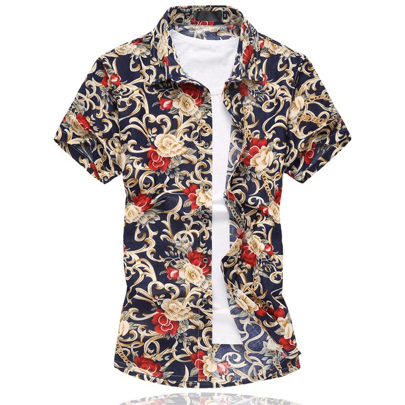 Wholesale- M-6XL Mens Flower Shirt 2016 Summer Short Sleeve Shirt High Quality Mercerized Cotton Shirts Plus Size Casual Slim Fit Shirt Men