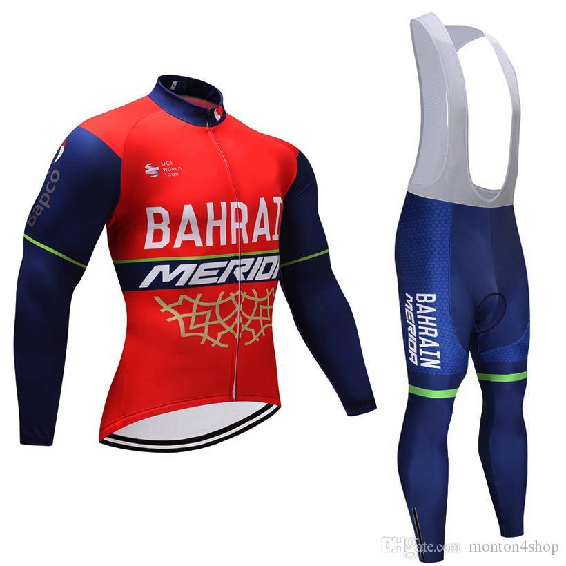 2018 BAHRAIN MERIDA EQUIPE ciclismo jersey calças set Ropa ciclismo inverno  lã térmica à prova de vento ciclismo desgaste terno de roupas de bicicleta 3d71ab1eece5b