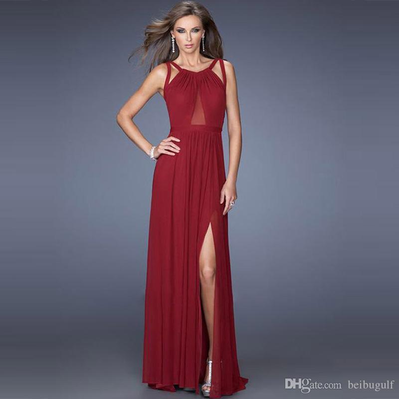 Großhandel Oyr70337 Frauen Wein Rot Lange Kleid Partei Damen ...