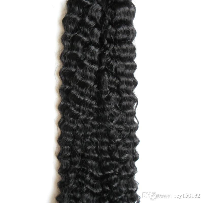 Я наклоняю наращивание волос монгольский афро кудрявый вьющиеся волосы девственницы 100г 100С #1 угольно-черный pre скрепленные нет Remy человеческих волос