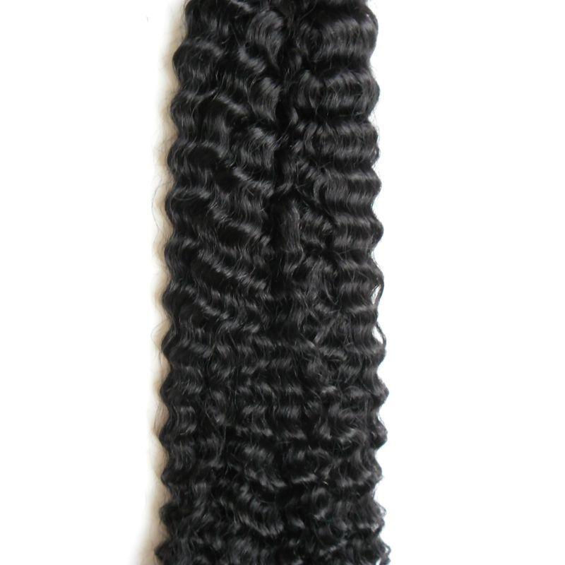 Eu Sugiro Extensões de Cabelo mongol afro kinky curly cabelo virgem 100g 100 s # 1 Jet Black Pré Ligado Não Remy Extensões de Cabelo Humano
