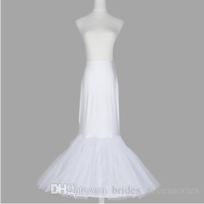 Nylon Mermaid Crinoline Wedding Dress Slip Trumpet Gown 2 Tier Floor Length Style Hoop Skirt Hoopless