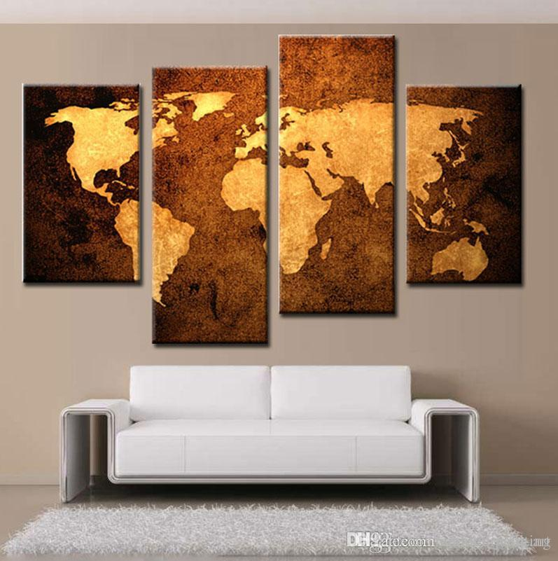 4 Piece Wall Art buy cheap paintings for big save, modern art space world map