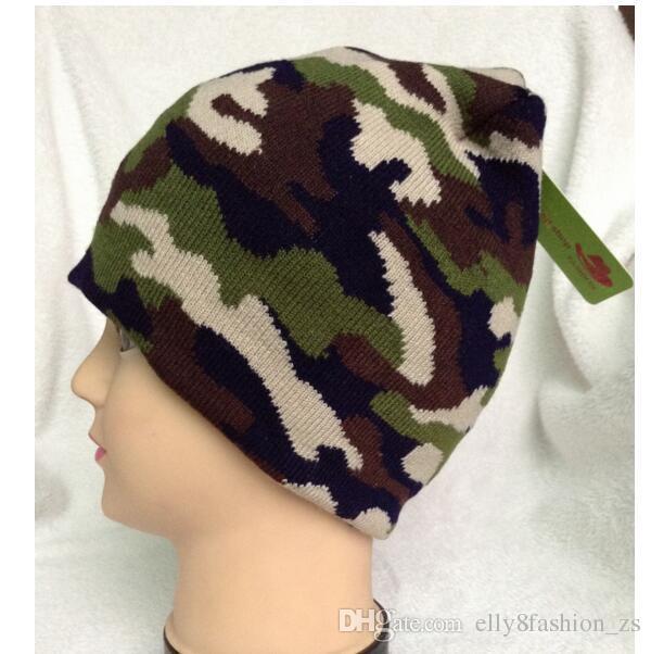 Camo Army Skull Caps hiver gros adulte Bonnet mignon Hommes Camo Bean Green Bonnet Skull Caps Supports 3D broderie votre logo Crânes taille adulte