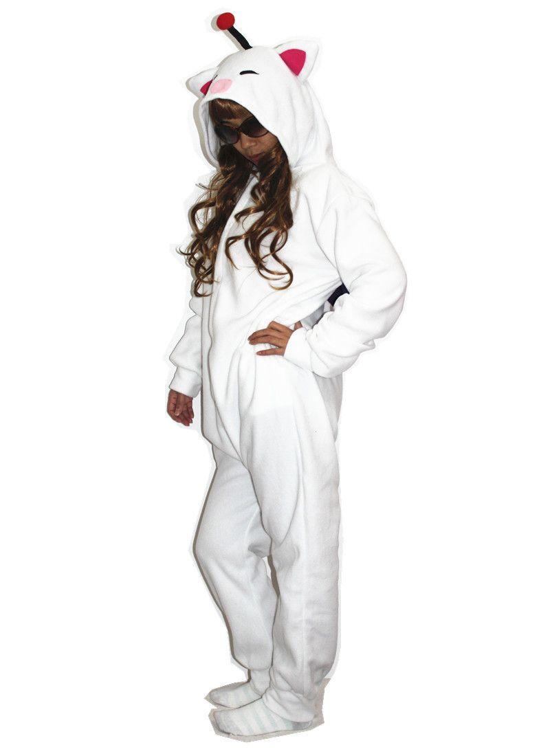 Moogle Final Fantasy Traje Cosplay Adulto Dos Desenhos Animados Kigurumi Polar Fleece Costume para o Carnaval de Halloween Festa de Ano Novo