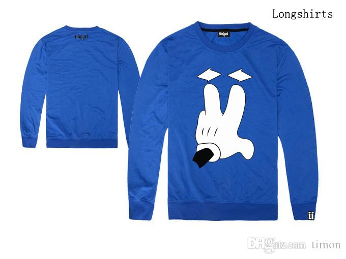 UNKUT T-shirts Hombres Hip Hop Streetwear Ropa casual deporte lana nuevo estilo de manga larga cuello redondo camiseta envío gratis