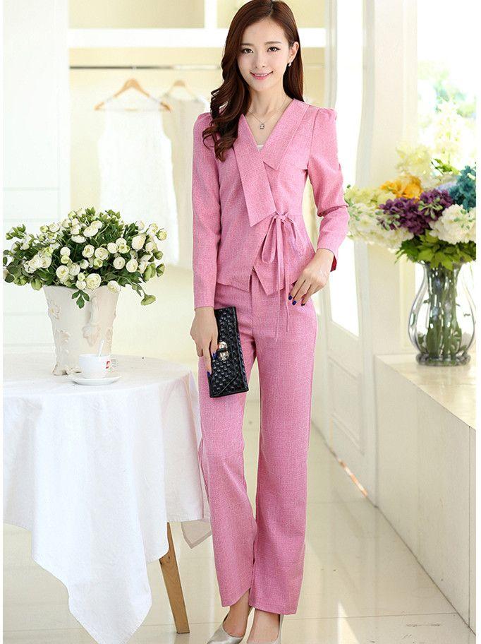 2017 Jacket   Trousers Ladies Office Wear Suit Grey Pink Womens ...
