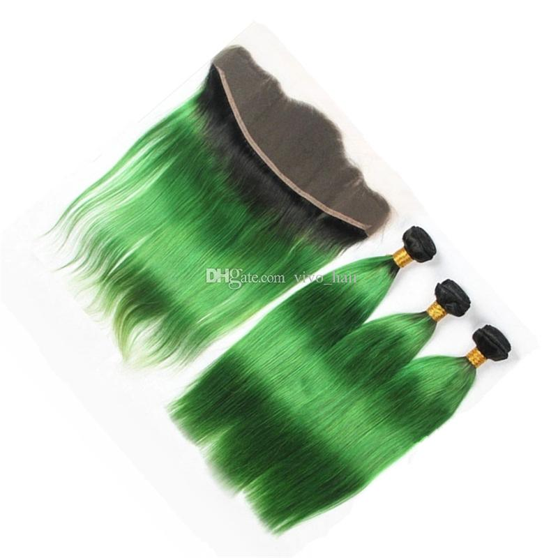 8A Grade Ombre Lace Frontal Closure With Hair Bundles 2 Tone 1B Green Ombre Straight Human Hair Weaves With Lace Frontal