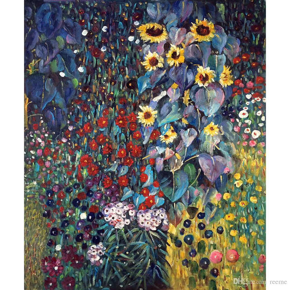 Superieur Landscapes Art Farm Garden With Sunflowers By Gustav Klimt Oil Painting  Modern High Quality Hand Painted