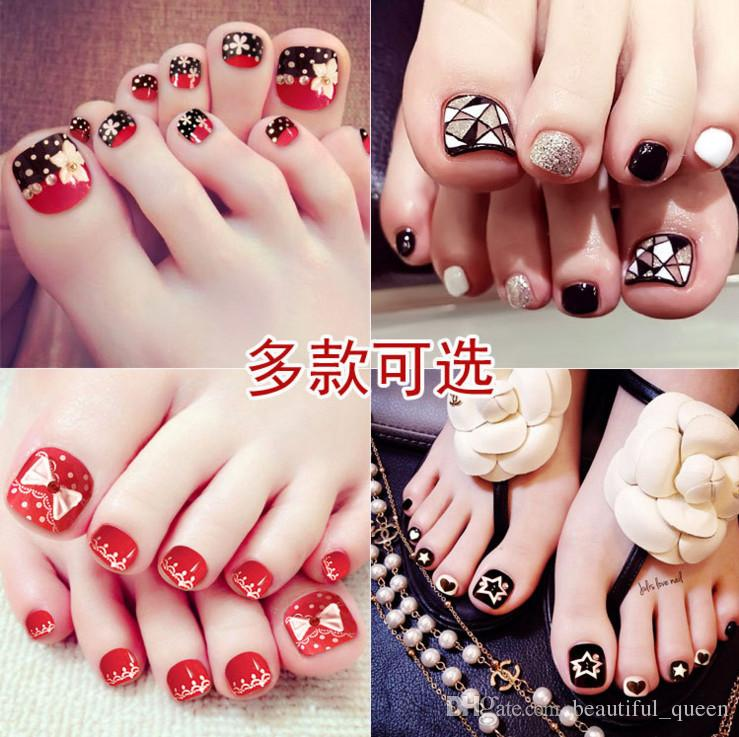 Manicure Finished Crystal Diamond Fake Nails Toenail Patch Toenails ...