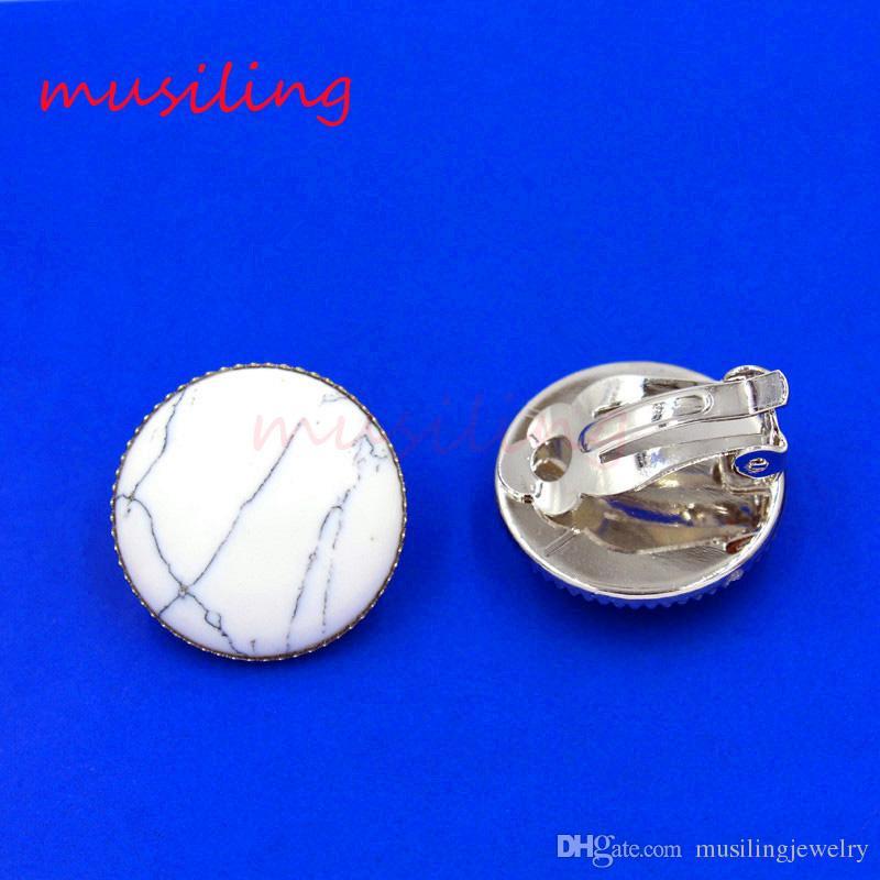 Brincos Ear Cuff Pedra Natural Brinco Clipe de Orelha Brincos Rodada Bead Ear Cuff Europeu Moda Jóias Para As Mulheres