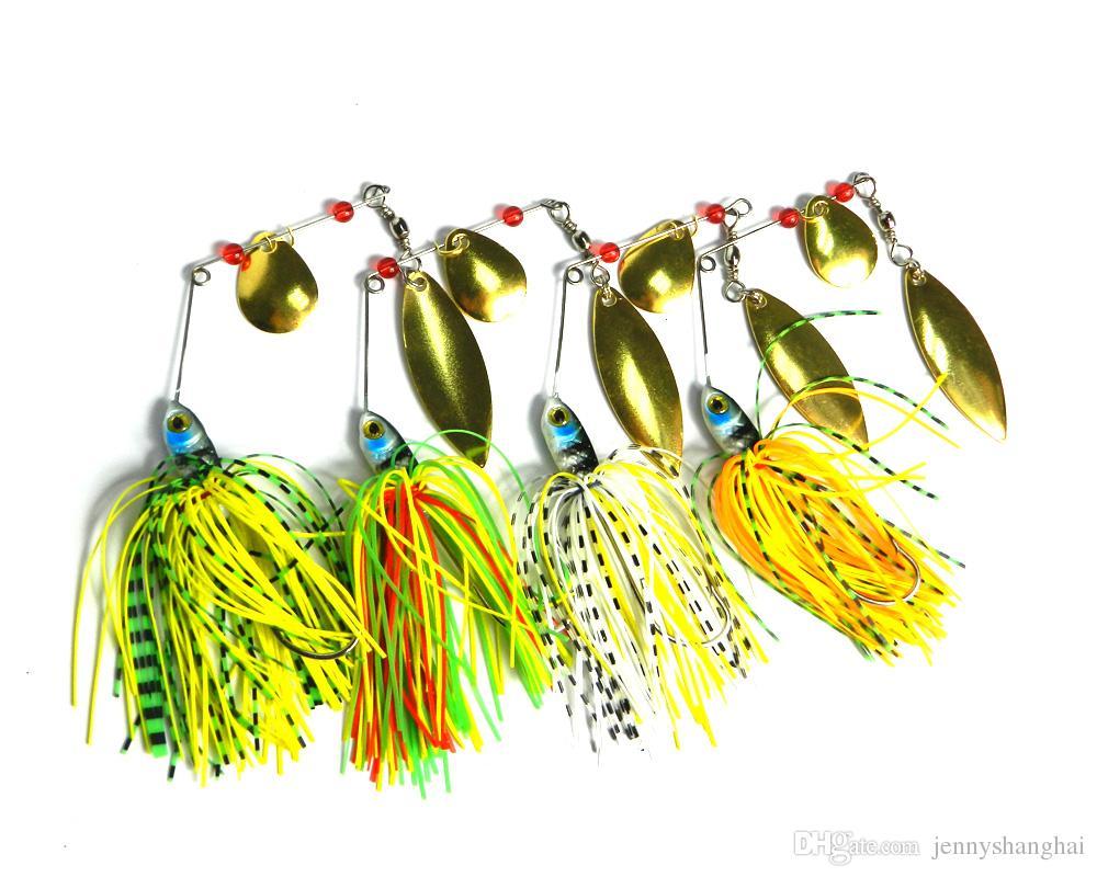 HENGJIA 4 unids / lote 17.4g 0.61 oz Spinner Cebo Señuelo de la Pesca Cucharas de Agua Dulce Bass Bajo Walleye Minnow Spinnerbait Señuelos