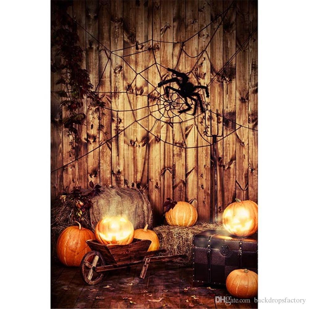 happy halloween kids backdrops vintage brown wood wall floor spider web pumpkins lantern wooden trolley suitcase children photo background halloween kids