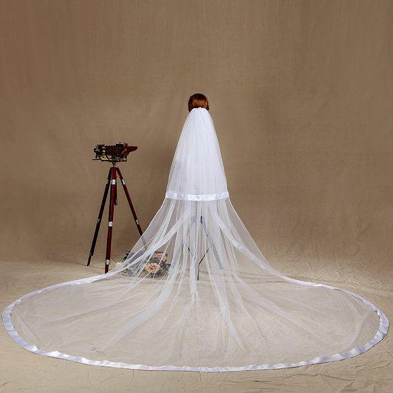 2016 New Fashion Designer Best Sale Romantic Cathedral White IvoryRibbon Edge Veil Mantilla Veil Bridal Head Pieces